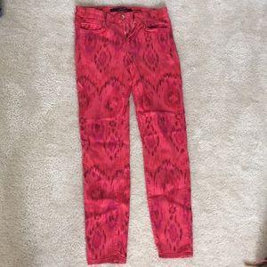 Joe's pink patterned jeans